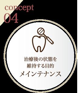 concept04 治療後の状態を維持する目的メインテナンス